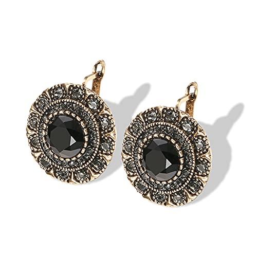 PJRYC Pendientes de Cristal Gris para Damas Antiguas de Oro de Oro Piedra Negro Pendientes Retro joyería de Boda Nupcial (Metal Color : Black)