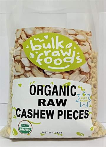Organic Raw Larg Cashew Pieces 3 Pound Unsalted Premium Organic Gluten Free Snack by BulkRawFoods