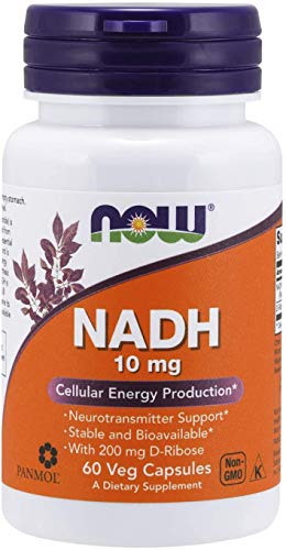 NOW NADH 10mg with 200mg D-Ribose 60 Veg Capsules, 60 g