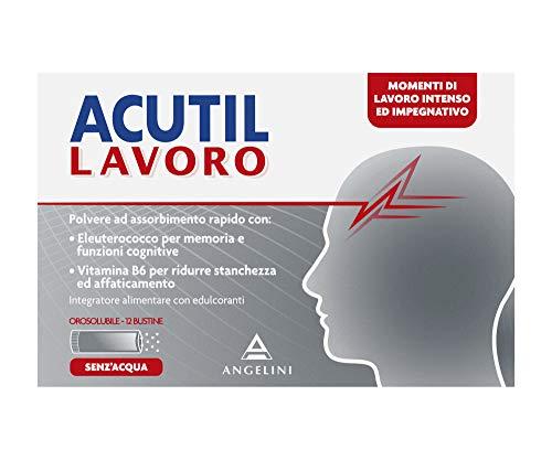 Acutil Lavoro, Integratore Alimentare per i momenti di lavoro intenso ed impegnativo con Fosfoserina, Vitamine B2 e B6, Zinco e Papaya. 12 Bustine Orosolubili