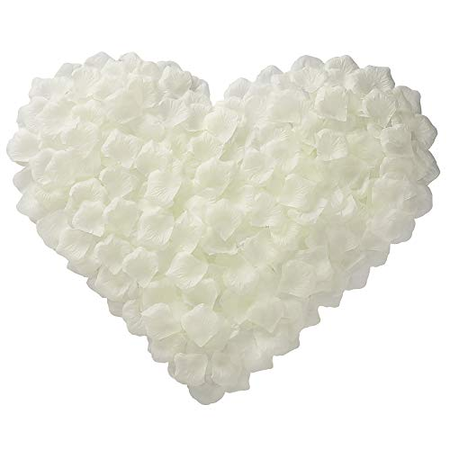 BESKIT 3000 Pcs Artificial Rose Petals Unscented Non-Woven Silk Flower Petals for Valentine Day Wedding Flower Decoration (Ivory White)