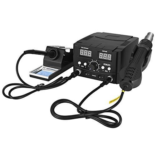 TOPQSC Estación de desoldamiento de aire caliente, 2 en 1 pistola de aire caliente soldador kit de soldadura digital, pantalla digital LED, calibración de temperatura digital