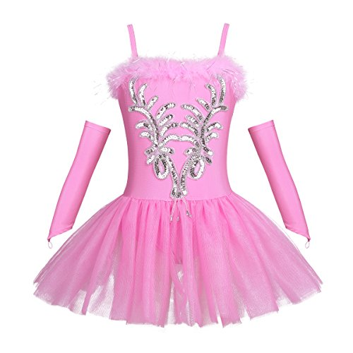 TiaoBug Mädchen Ballettkleidung 3tlg.Set Ballettkleid+Handschuhe+Haarband Kinder Ballettanzug Ballett Trikot Tanz Kostüm Tütü Kleid 104 110 116 122 128 140 152 Rosa 122-128
