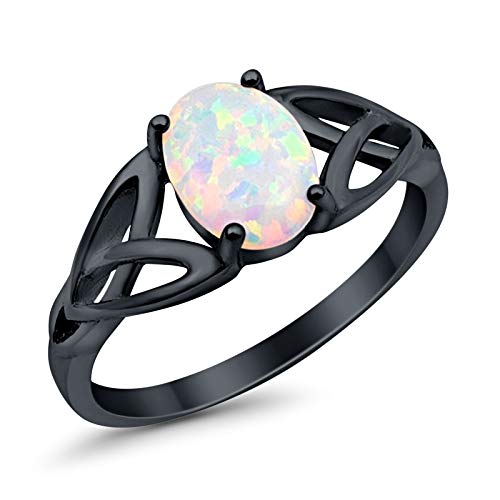 Solitaire Celtic Shank Engagement Ring Oval Created White Opal Black Tone 925 Sterling Silver, Size - 7