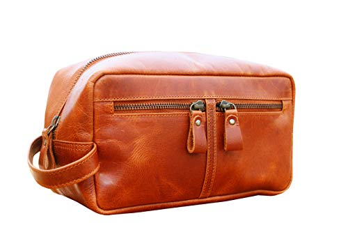 Men's Travel Toiletry Organizer Bag - Premium Leather Toiletry Shaving Dopp Kit Travel Organizer Bag for Mens - Best Gift for Men