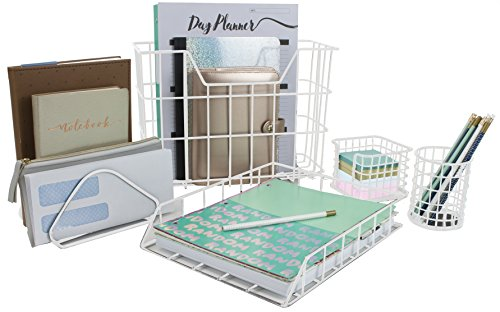 Sorbus Desk Organizer Set, 5-Piece Desk Accessories Set Includes Pencil Cup Holder, Letter Sorter, Letter Tray, Hanging File Organizer, and Sticky Note Holder for Home or Office (White)