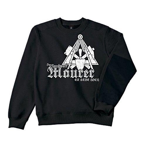 Maurer Sweatshirt - Workwear   Bau   Arbeit   Männer   Herren   Pullover   Arbeitskleidung   Handwerker   Zunftwappen (XL, Schwarz)