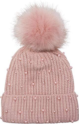 styleBREAKER Damen Strick Bommelmütze mit Perlen und Fleece Futter, Winter Fellbommel Mütze 04024155, Farbe:Altrose