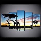 HCHD Moderne Wand-Kunst-Leinwand gedruckt Gemälderahmen Bilder 5 Stück Afrikanisches Tier Giraffe Elefant-Sonnenuntergang-Landschaft Plakat (Size : 30x50 30x70 30x80cm)