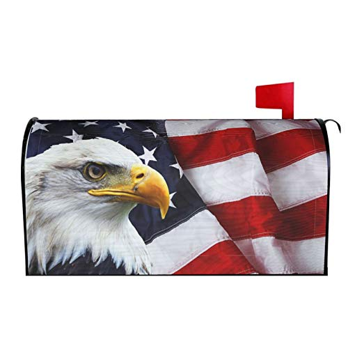 Ouqiuwa American Flag Welcome Magnetic Mailbox Cover, Eagle Mailbox Wrap Decorative for Garden Yard Home 21' Lx 18' W