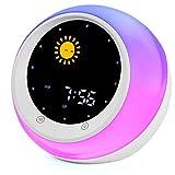 I·CODE Sun & Moon Rise Kids Alarm Clock, Children's Sleep Trainer,Sleep Sound Machine, Wake Up Light & Night Light,Teach Kids Day & Night