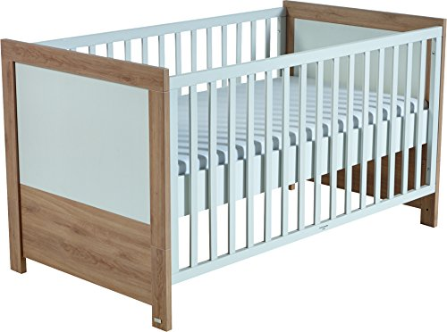 Roba Lit enfant 'lousia' Combi, 70 x 140 cm drap-housse Lit Bébé Chêne/Blanc, Hauteur réglable sur 3 niveaux, bébé de lit & Lit Bébé transformable pour Junior