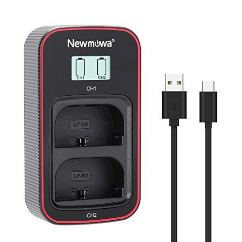 Newmowa caricatore doppio USB con display LCD intelligente per Canon LP-E6,LP-E6N,Canon EOS 5DS R, EOS 5DS, EOS 5D Mark IV, EOS 5D Mark III, EOS 5D Mark II, EOS 6D, EOS 7D, EOS 7D Mark II