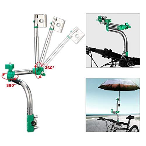 WIKEA Einstellbarer Schirmverbinder, Schirmhalter für Golfwagen, Fahrrad, Kinderwagen, Angeln, Strandkorb, Rollstuhl mit runden Rahmen (Aufgerüstet)