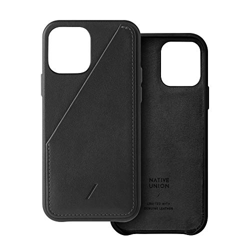 Native Union Clic Card Case – Crafted with Genuine Italian Nappa Leather – Slim & Lightweight Cover with Card Holder - Compatible with iPhone 12, iPhone 12 Pro (Black)