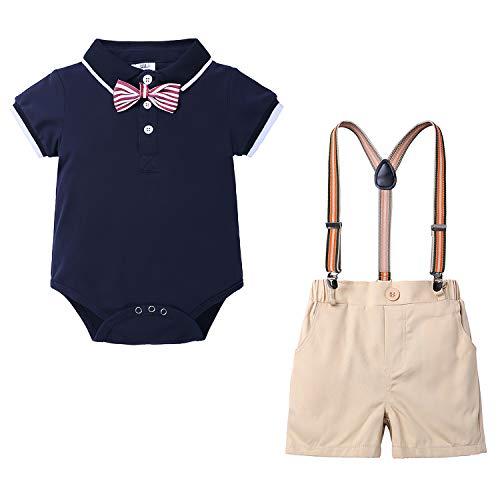 Ropa Conjuntos para bebés 2020 - Camisa Polo Manga Corta + Pantalones Cortos - para 0-24 Meses Recien Nacido Bebé Conjunto de Dos Piezas(Negro,12-18 Meses)