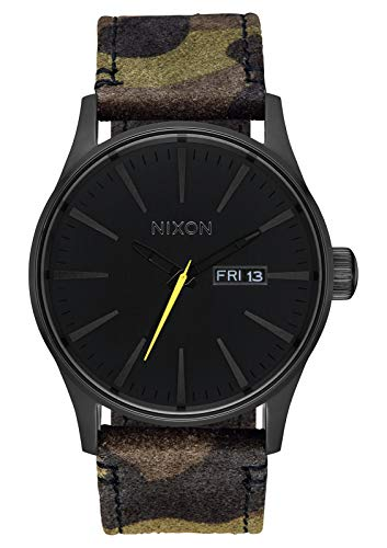 NIXON Sentry Leather A105 - Black/Camo/Volt - 100m Water Resistant Men's Analog Classic Watch (42mm Watch Face, 23mm Leather Band)