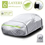 Car Cover Waterproof All Weather for Automobiles 6 Layers Outdoor Sedan Car Full Exterior Cover Windproof Dustproof Rain Snow Sun UV Protection with Zipper Universal Automotive (188' to 192') XL