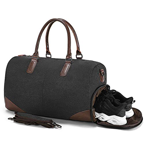 Fresion Holdall Travel Duffles Bag - with 15 inches Laptop Sleeve and Shoe Compartment, Overnight Bags Weekend Bag Large Flight Bag Canvas Tote Bags Shoulder Bag Handbags for Men Women, Black