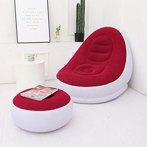 JOELELI Sofá cama Lazy con reposapiés, plegable y portátil, reclinable para salón, interior y exterior (rojo)