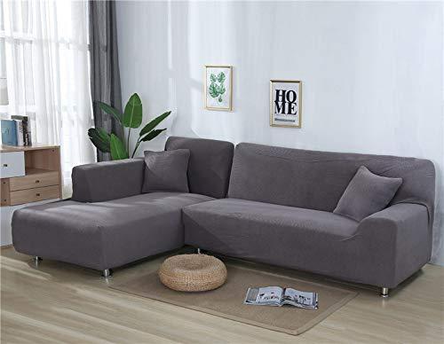 ASCV Fundas de sofá Lisas para Sala de Estar Funda de sofá de Forro Polar elástico Funda de sofá de Esquina Funda Protectora de sofá seccional en Forma de L A7 2 plazas