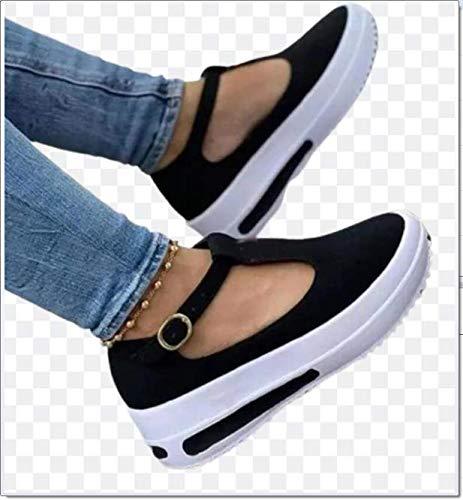 SQL Sandalias Planas de Plataforma para Mujer Hebilla de Punta Cerrada con Fondo Grueso Zapatos con borlas Baotou Zapatillas de Ocio Sandalias de Playa Retro,Negro,41