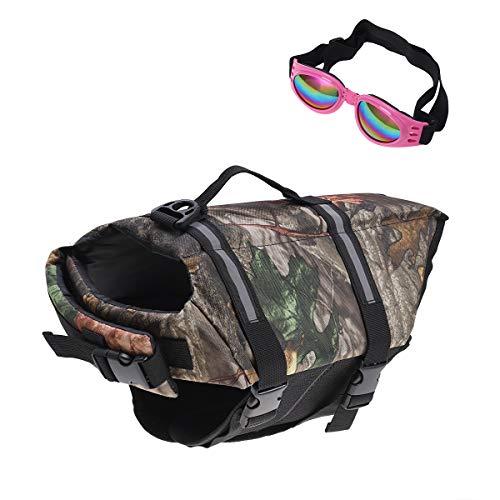 POPETPOP Best Dog Life Jacket Size Adjustable Preserver Life Vest buoyant Lifesaver with pet Glasses Camouflage Size L