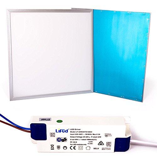 Taloya 36 W LED Panel 62 x 62 cm 83 Ra Neutralweiß 4000K Rahmen silber EEK A 5 Jahre Garantie Einlegeleuchte Rasterdecke Deckenplatte