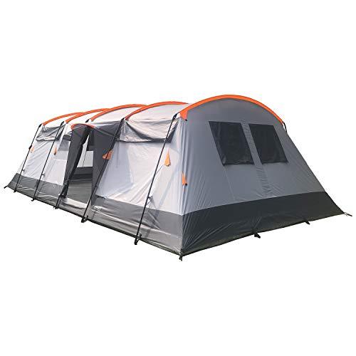 skandika Hurricane Protect 12 Personen Familien-Zelt, eingenähter Zeltboden, wasserdicht durch 5000 mm Wassersäule, Robustes Steilwand-Zelt mit 2 Schlafkabinen, Insekten-Netzen, über 2 m Stehhöhe