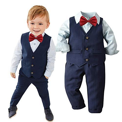 LAPLBEKE Baby Jungen Outfits Anzüge - Kinder Hemd + Hosen + Weste + Fliege Sets Langarm Knopf - Gentleman Festliche Hochzeitsanzüge Bekleidungssets Dunkelblau 3-4 Jahre