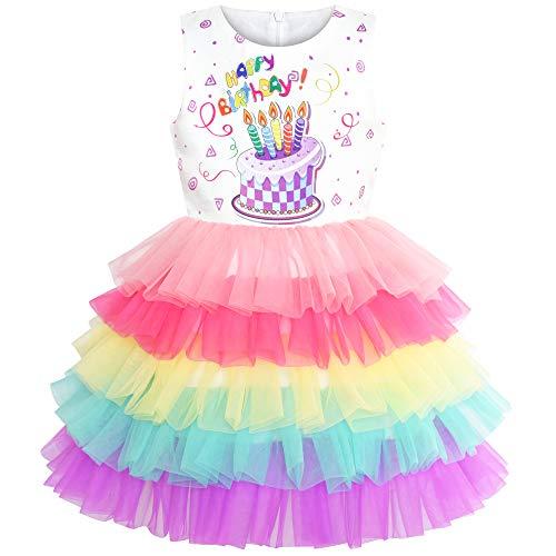 Sunny Fashion Vestito Bambina Compleanno Principessa Arcobaleno Torta Palloncino 6 Anni