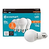 Ecosmart 60W Equivalent Soft White A19 Energy Star and Dimmable LED Light Bulb (4-Pack)