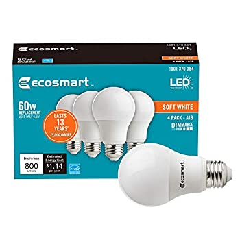 Ecosmart 60W Equivalent Soft White A19 Energy Star and Dimmable LED Light Bulb  4-Pack