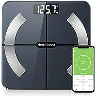 Báscula Grasa Corporal Báscula de Baño Wireless Báscula Baño Digital Analizar Más de 13 Funciones, Monitores de Composición Corporal Máximo 180kg para Andriod y iOS (Negro)