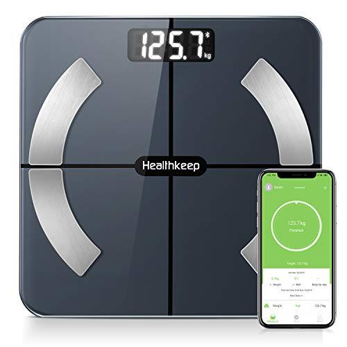 Körperfettwaage, Bluetooth Personenwaage mit App, Smart Digitale Waage für Körperfett, BMI, Gewicht, Muskelmasse, Wasser, Protein, Skelettmuskel, Knochengewicht, BMR, Schwarz
