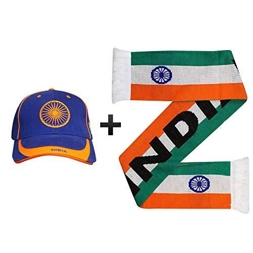 Cricket-Fans Mütze und Schal mit indischer Flagge