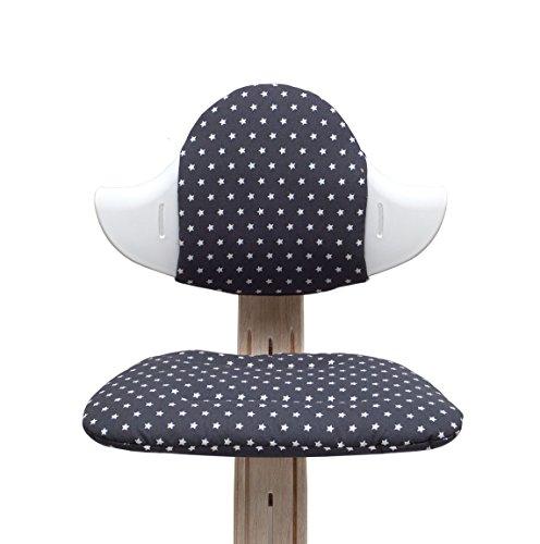 Blausberg Baby - Sitzkissen Set für Nomi Hochstuhl von Evomove - Dunkelgrau Anthrazit Stern