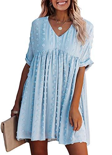 KIRUNDO Summer Women's Short Sleeves Mini Dress Sexy V Neck Flowy Casual Dress Swiss Dot Short Loose Fit Plus Size Dress (X-Large, Blue)