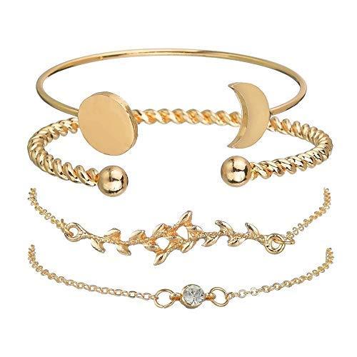 SataanReaper Presents - Juego de 4 pulseras multicapa chapada en oro para mujeres y niñas (doradas) #SR-1057