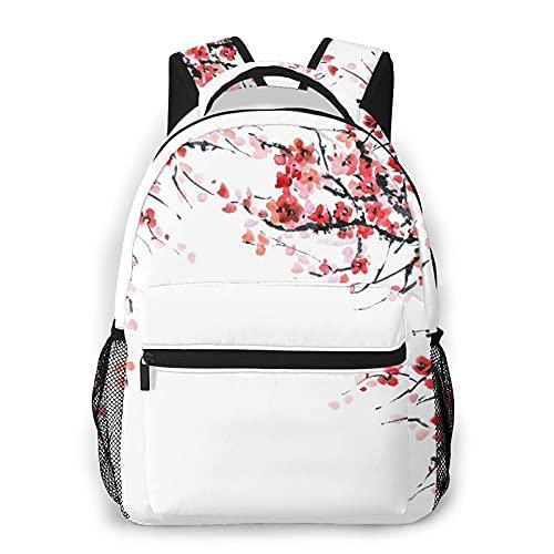LUDOAN Mochila de viaje,rama de flor roja de Sakura,flor de acuarela,ramas de cerezo,pintura artística para japoneses,resistente al agua,resistente al agua,resistente al agua,mochila para computadora