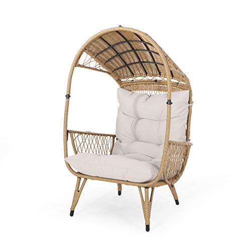 Joanna Outdoor Wicker Standing Basket Chair with Cushion, Light Brown and Beige