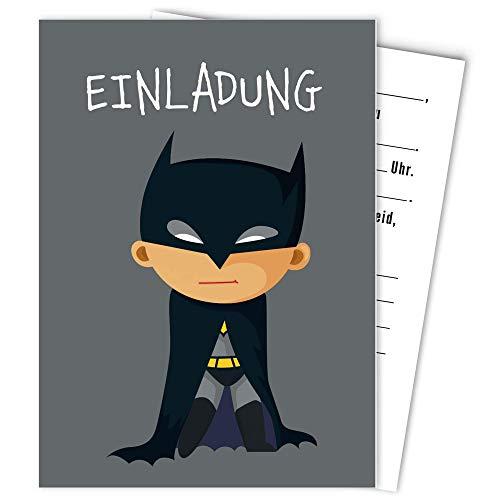 Postkartenschmiede Batman Einladungskarten Kindergeburtstag Junge (10er-Set) - Einladung Geburtstag Kinder - Geburtstagseinladungen