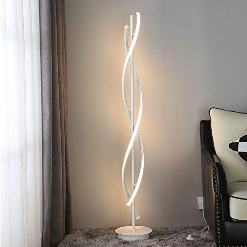 OUKANING Lámpara de pie LED en espiral, color blanco, regulable, 30 W, interruptor de botón, estilo moderno, simple y moderno, iluminación decorativa para el hogar