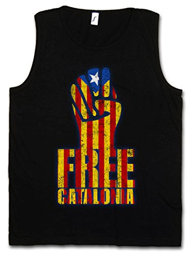 Urban Backwoods Free Catalonia Fist Hombre Camiseta Sin Mangas Men Tank Top Negro Talla L