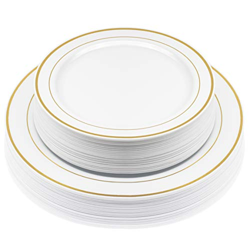 50-Pack Elegant Disposable Hard Plastic Plates | Combo Set Includes 10.5-Inch Dinner Plates + 7.5-Inch Salad Dessert Plates with Elegant Gold Edge Pattern Premium Dishes for Parties & Weddings