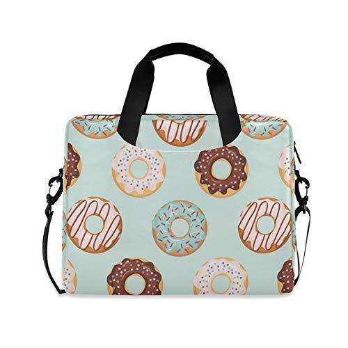 RELEESSS Laptop Sleeve Doughnut Pattern Laptop Handbag Briefcase Messenger Carrying Case Bag Adjustable Shoulder Strap