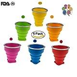 Set di 6 tazze pieghevoli con coperchio, 170 ml, in silicone, pieghevole, da viaggio, per campeggio, escursionismo, picnic