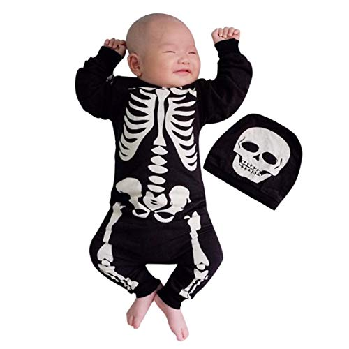 BYSTE_Halloween Tutine e Body Neonato,Costume Carnevale Bambina,Bambino Pagliaccetto in Cotone Ragazze Ragazzi Pigiama Neonato Tutina Fumetto Outfits,24 Mesi,Nero