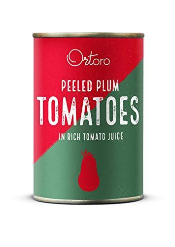 Ortoro - Tomates de pera pelados, 400g (paquete de 12)