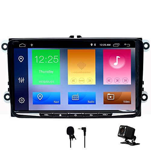 SWTNVIN Android 10 Unidad de Audio estéreo para Coche Fits for VW canddy Golf Skoda Octavia Reproductor de DVD Radio de 9 Pulgadas HD Pantalla táctil de navegación GPS con BT WiFi SWC 2GB+32GB